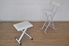 "Thumbnail of ""ピアノ椅子JS-SB100WH美品 高さ調節3段階折りたたみ椅子2脚セット"""