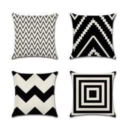 "Thumbnail of ""シンプルな黒と白の幾何学的な波のジグザグのリネン枕カバークッションカバー"""