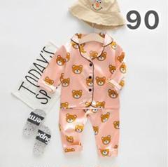 "Thumbnail of ""子供用 クマ パジャマ ルームウェア 90 ピンク セットアップ 韓国 子供服"""