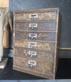 "Thumbnail of ""アンティーク 引き出し6杯 古い木製収納棚 書類ケース レターケース 昭和レトロ"""