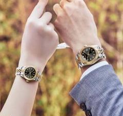 """Thumbnail of """"2つセット 新品 ペア☆男女カップル 腕時計 ビジネス フォーマルにも♪コンビ黒"""""""