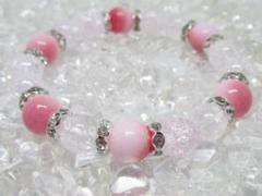"""Thumbnail of """"★【ピーチジェイド×水晶】玉経10㎜  天然石ブレスレットパワーストーン"""""""