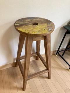 "Thumbnail of ""木製スツール 丸椅子 リサイクルウッド ヴィンテージ アンティーク"""