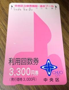 "Thumbnail of ""東京都中央区立 体育施設・温水プール利用回数券 3,300円券"""