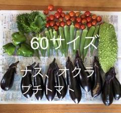 """Thumbnail of """"朝採り 無農薬 夏野菜 ナス 茄子 オクラ プチトマト 詰め合わせ 60サイズ"""""""
