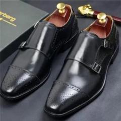 "Thumbnail of ""25.0cm本革ダブルモンクストラップ ウィングチップ高級紳士靴"""