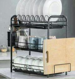 """Thumbnail of """"?水切りラック 食器棚 水切り棚 キッチン収納 多目的 3段 カフェ ブラッ9"""""""