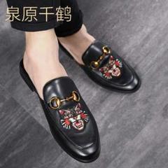 "Thumbnail of ""レザーサンダル ビジネススリッパ 刺繍高級感 メンズ スリッパ 革靴 かかとb"""