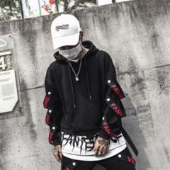 "Thumbnail of ""【10%値引き中!】メンズ 袖ベルトパーカー☆ヒップホップ系 ストリート系"""