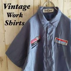 "Thumbnail of ""【b314】USA古着90sヴィンテージ半袖ビッグワークシャツ企業物刺繍パッチ"""