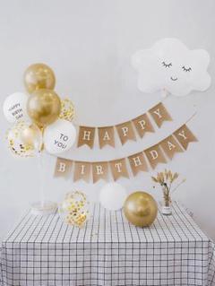 """Thumbnail of """"誕生日 Happy Birthday ガーランド 飾り豪華セット(雲a)1"""""""