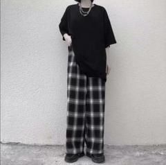 """Thumbnail of """"大人気??チェック柄 ワイドレッグパンツ ワイドパンツ イージーパンツ??黒3"""""""
