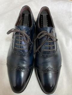 "Thumbnail of ""パーフェクトスーツファクトリー革靴お洒落なネイビーウイングチップ"""