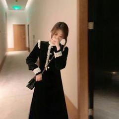 """Thumbnail of """"新新しいフランスのベルベットのスカートの気質の中で長款ヘップバーン風の黒いス8"""""""