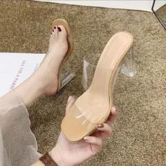 """Thumbnail of """"クリアヒールサンダル 24cm 夏コーデ 韓国ファッション リゾート ベージュ"""""""