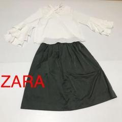 """Thumbnail of """"ZARAカーキ色ロングワンピース×rps白色フリルブラウス"""""""