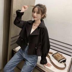 """Thumbnail of """"ショートトレンチ 黒 ブラック ライダース風ジャケット オルチャン L"""""""