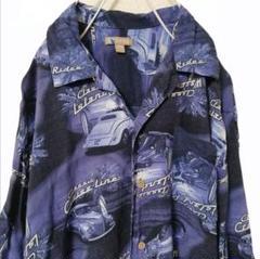 "Thumbnail of ""OLD古着 クラシックカー柄とヤシの木柄 オープンカラーシャツ"""