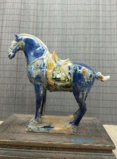 "Thumbnail of ""唐三彩は全部手作業で戦馬を飾っています 中国唐の工芸品 陶磁器の置物4"""