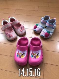 "Thumbnail of ""女の子靴、 女の子夏 ピンクのサンダル ディズニープリンセス、苺、リボンサンダル"""