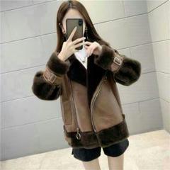 "Thumbnail of ""短めの女革服  羊の毛のコート  毛むくじゃらの袖口  厚手の女性コート#33"""