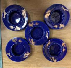 "Thumbnail of ""灰皿 青 セット 陶器 藍色 たばこ 焼物 レトロ 和柄 金 アンティーク"""