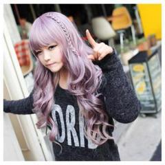 """Thumbnail of """"ピンク パープル ロング カール 耐熱 フルウィッグ 紫 かつら 55cm"""""""