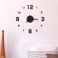 "Thumbnail of ""3Dウォールクロック ブラック DIY壁時計 ウォールステッカー 韓国 立体時計"""