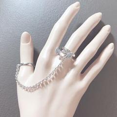 "Thumbnail of ""チェーン量産型天使ハート silver 2連指輪"""