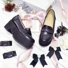 "Thumbnail of ""liz lisa 厚底リボンローファー 黒靴 Lサイズ 量産系 地雷系 やみかわ"""