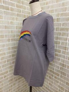 "Thumbnail of ""Tシャツ 灰色 グレー Mサイズ ユニセックス レインボー 虹 シンプル  韓国"""