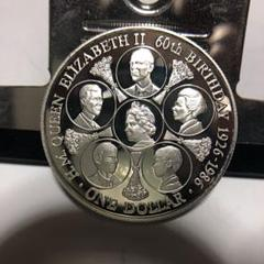 "Thumbnail of ""*レア1986.イギリス.連合王国.エリザベス2世1ドル銀貨.プルーフ *"""