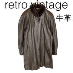 """Thumbnail of """"W2075*vintage 牛革 ロングレザーコート グレー 黒ブラック"""""""