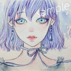 """Thumbnail of """"手描きイラスト 雫ピアスの女の子 オリジナル 水彩画"""""""