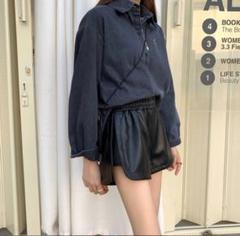 """Thumbnail of """"最終値下げ♥レザー ショート パンツ 韓国 レディース ウエスト ゴム 黒J49"""""""