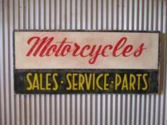 "Thumbnail of ""ビンテージ木製看板 MOTORCYCLE検)ガレージカフェUSA50s60s"""