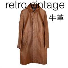 "Thumbnail of ""W1843*vintage 牛革 レザーコート ロングコート 茶ブラウン 2"""
