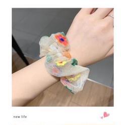 "Thumbnail of ""シュシュ 花 刺繍 シアー シースルー 可愛い ヘアアクセ 韓国 春 sns"""