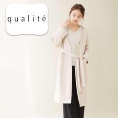 "Thumbnail of ""【qualite anana】 ノーカラーロングガウンコート アイボリーベージュ"""