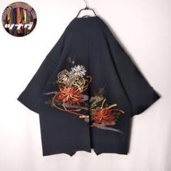 "Thumbnail of ""【激レア 美品 ビンテージ 柄羽織 黒羽織 モード 刺繍デザイン 和柄 花柄】"""