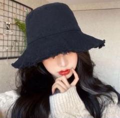 """Thumbnail of """"フリンジハット 韓国ファッション 帽子 シンプル 小顔 ブラック"""""""