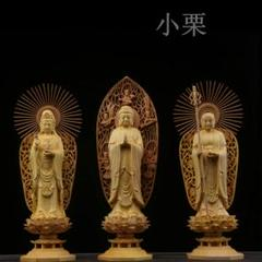"Thumbnail of ""新作 婆娑三聖  一刀彫り 仏教工芸品 木彫仏教 精密彫刻 仏師で仕上げ品"""