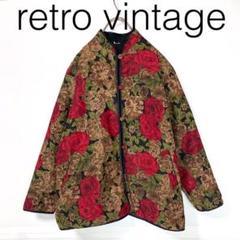 """Thumbnail of """"W2990*Vintage コート ノーカラージャケット花柄 黒ブラック赤レッド"""""""