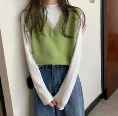 "Thumbnail of ""【即発送可】スタイリッシュ♪Vネックニット トップス レディース韓国ファッション"""