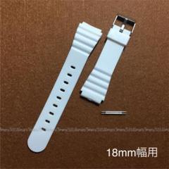 "Thumbnail of ""ホワイト樹脂製ベルト白☆取付幅18mm用♪バネ棒2本付属,交換ベルト腕時計ベルト"""