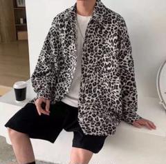 レオパード柄 ヒョウ柄 オーバーサイズ シャツ アロハシャツ トップス⭐︎黒のサムネイル