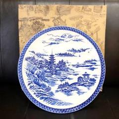 "Thumbnail of ""【新品未使用/美品】藍釉市松 大皿 盛皿 食器 和食 箱付き"""