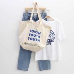 "Thumbnail of ""youth 英字 ロゴ トートバッグ マチあり 韓国ファッション レディース"""