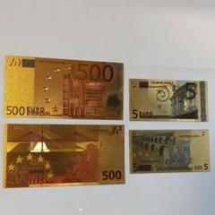 "Thumbnail of ""ゴールドお札2枚セット500ユーロ/5ユーロ(金運UP)EURO"""