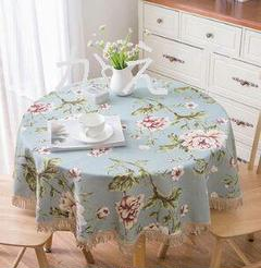 """Thumbnail of """"ヨーロッパの牧歌的なスタイルの花の丸いテーブルクロス高級高級綿とリネンの布厚い"""""""